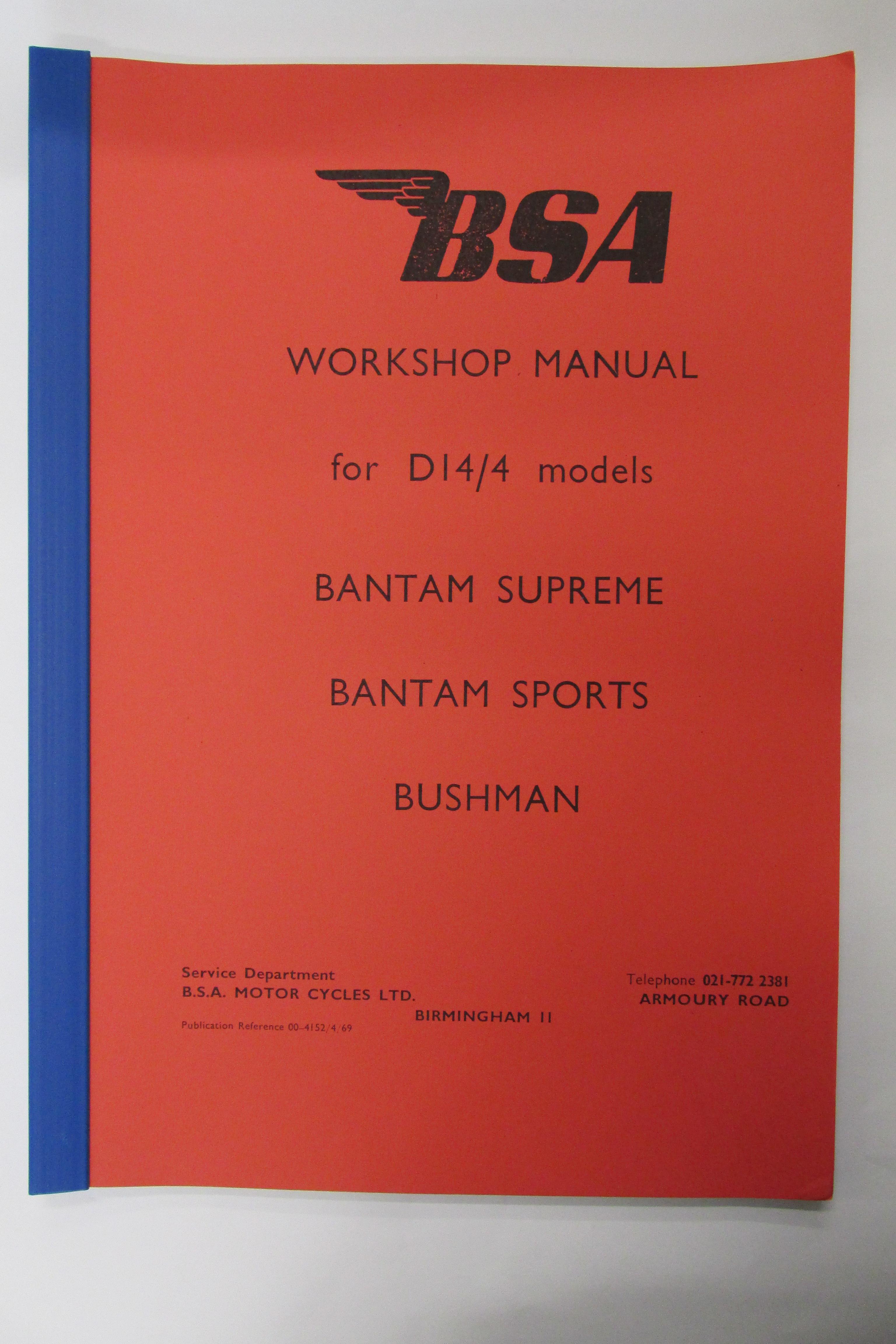 00-4152 WORKSHOP MANUAL BSA D14